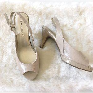 Bandolino Neutral Peep Toe Sandal Heel